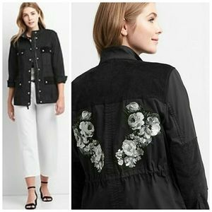Gap Black Embroidered Floral Twill Utility Jacket